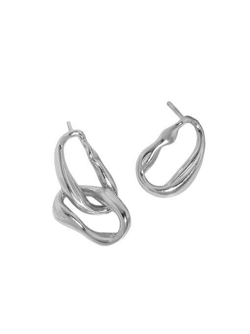 Platinum [with pure Tremella plug] 925 Sterling Silver Geometric Minimalist Drop Earring